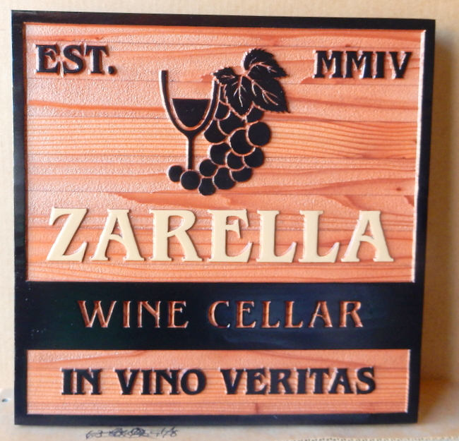 R27032 - 2.5-D Sandblasted Cedar Wine Cellar Sign, with Grape Cluster and Glass