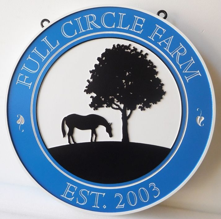 "O24227- Carved  and Engraved 2.5-D Sign for "" Full Circle"" Farm, with Silhouette of Horse and Tree"