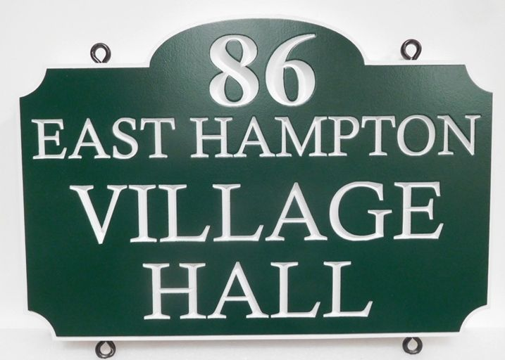 F15405 - Carved Engraved Hanging  Entrance Sign for the East Hampton Village Hall , 2.5-D Artist-Painted