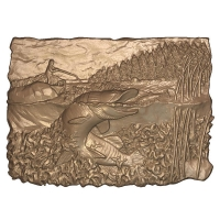 M22999 - 3D Carved Wood or HDU Fishing Scene with Muskie & Fishing Boat