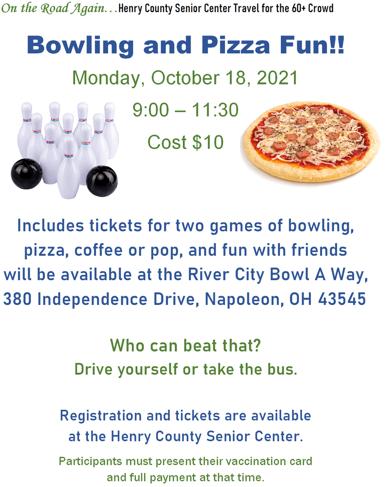 Bowling and Pizza! Oct.18 9-11:30am