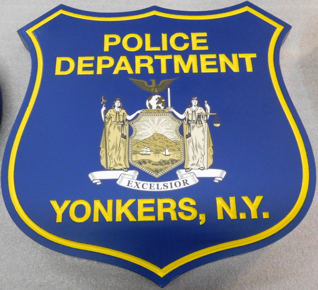 X33432 -  Carved HDU Shield Wall Plaque of the for the Yonkers, N.Y, Police Department