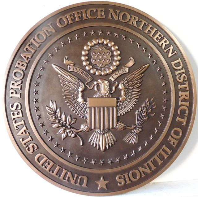 U30157 - Carved 3-D Bronze Wall Plaque of the Seal of the US Probation Office, Northern District of Illinois