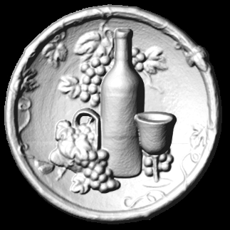R27906 - Round 3D Bas-Relief Wood Carving for Wine Plaque