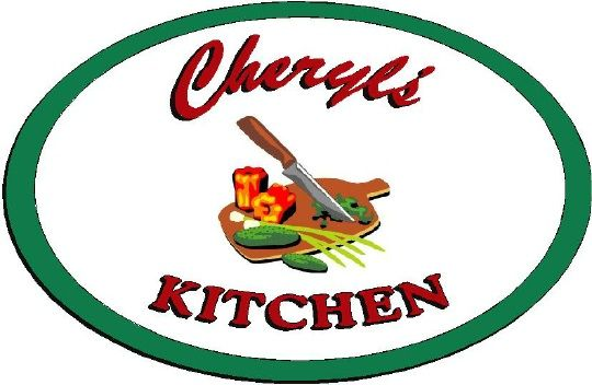 """N23106 - Engraved HDU Wall Plaque for """"Cheryl's Kitchen"""""""