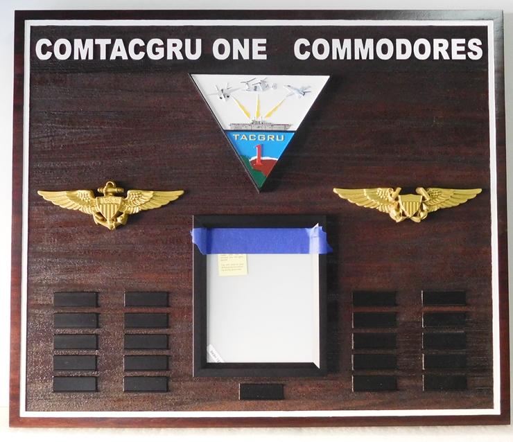 V31259 - Carved Cedar Commanding Commodores Plaque for  COMTACGRU ONE