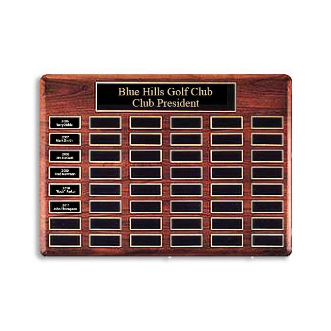 WP-3080 - Carved Perpetual Plaque  for  Blue Hills Golf Club President,  Walnut Wood with  Brass Nameplates