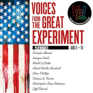 TBTB's VPI2: Voices from the Great Experiment. A picture of the voices from the great experiment logo. There's a horizontal, shredded American flag. The 2020 VPI logo is on the top right.