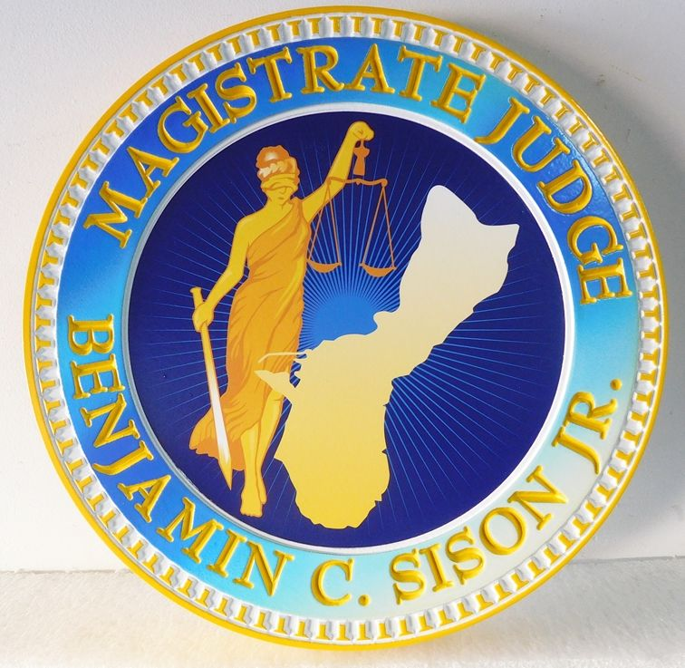 GP-1400 - Carved Plaque of the Seal of a Magistrate Judge's Court, Giclee Print