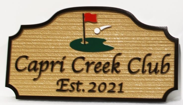 E14157 - Carved 2.5-D and Sandblasted Wood Grain HDU Entrance Sign for the Capri Creek Club