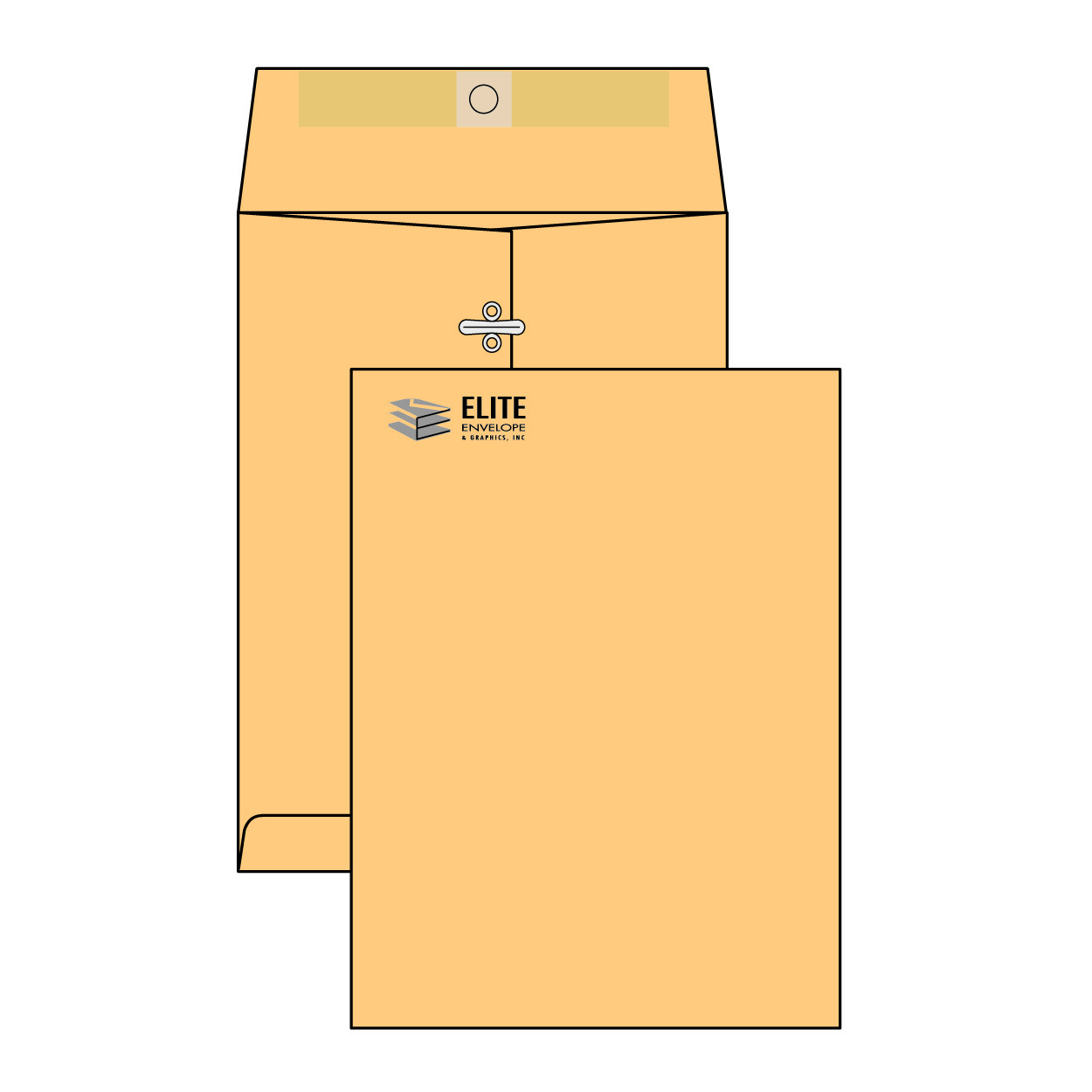 Item JA912 - 9 x 12  Catalog/Open End Envelope - Brown Kraft with Clasp