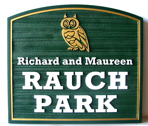 GA16454 - Sandblasted HDU Community Park Sign, with Owl