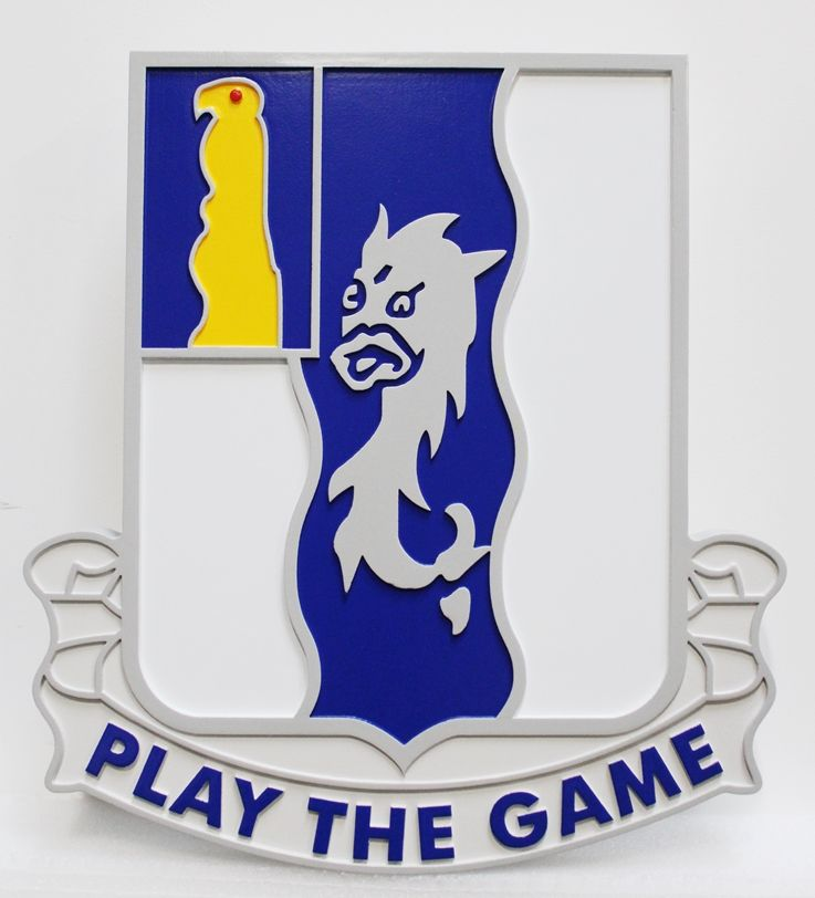 "MP-2087 - Carved HDU Wall Plaque of the Crest of the 50th Infantry Regiment, US Army, with Motto ""Play the Game"""