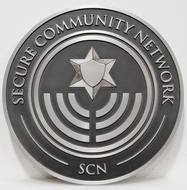 VP-1352 - Carved 2.5-D Aluminum-Plated HDU Plaque of the Logo of the Secure Community Network