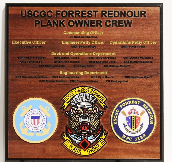 NP-2665 - Carved Plaque for the Plank Owner Crew of the USCGC Forrest Rednour,  WPC 1129, Mahogany Wood with Nameplates.