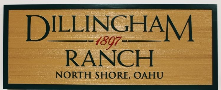 O24017 - Carved and Sandblasted 2.5-D Multi-level Western Red Cedar Sign for the Dillingham Ranch, on the North shore of Oahu, Hawaii.