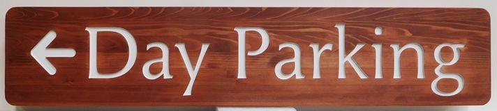 "Q24968 - Engraved Cedar Farm Directional Sign ""Day Parking"""