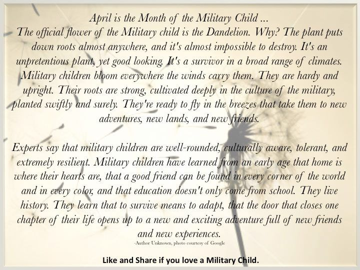 The Dandelion: The Flower of the Military Child