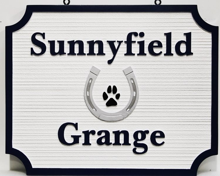 """P25155 - Carved and Sandblasted HDU Sign for  """"Sunnyfield Acres""""  features a Horseshoe and a Dog's Paw Print as Artwork"""