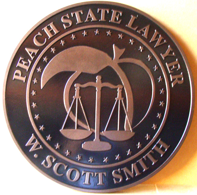 "A10197 - Carved Copper Round Wall Plaque for ""Peach State Lawyer"", Georgia, with Peach and Scales of Justice"