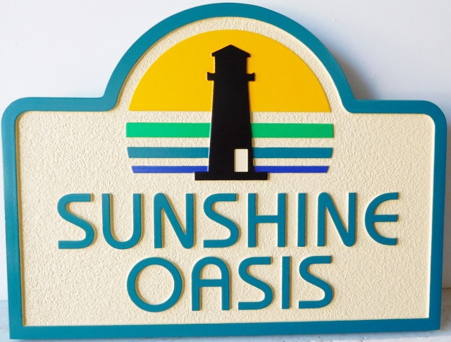 "L21423 - Carved 2.5-D Residence Entrance Sign "" Sunshine Oasis"""
