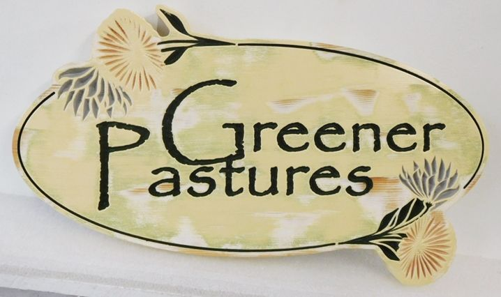 """O24753 - Engraved Entrance Sign for  """"Greener Pastures""""  with Thistles as Artwork."""