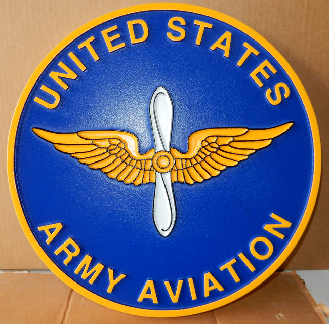 MP-1840- Carved Plaque of the Insignia of  of the US Army Aviation,    Artist Painted