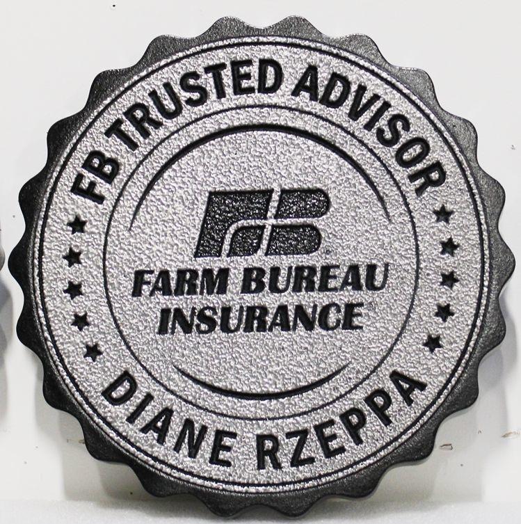 X35329 - Carved Plaque of the Logo for the Farm Bureau Insurance Company, 2.5-D Aluminum plated