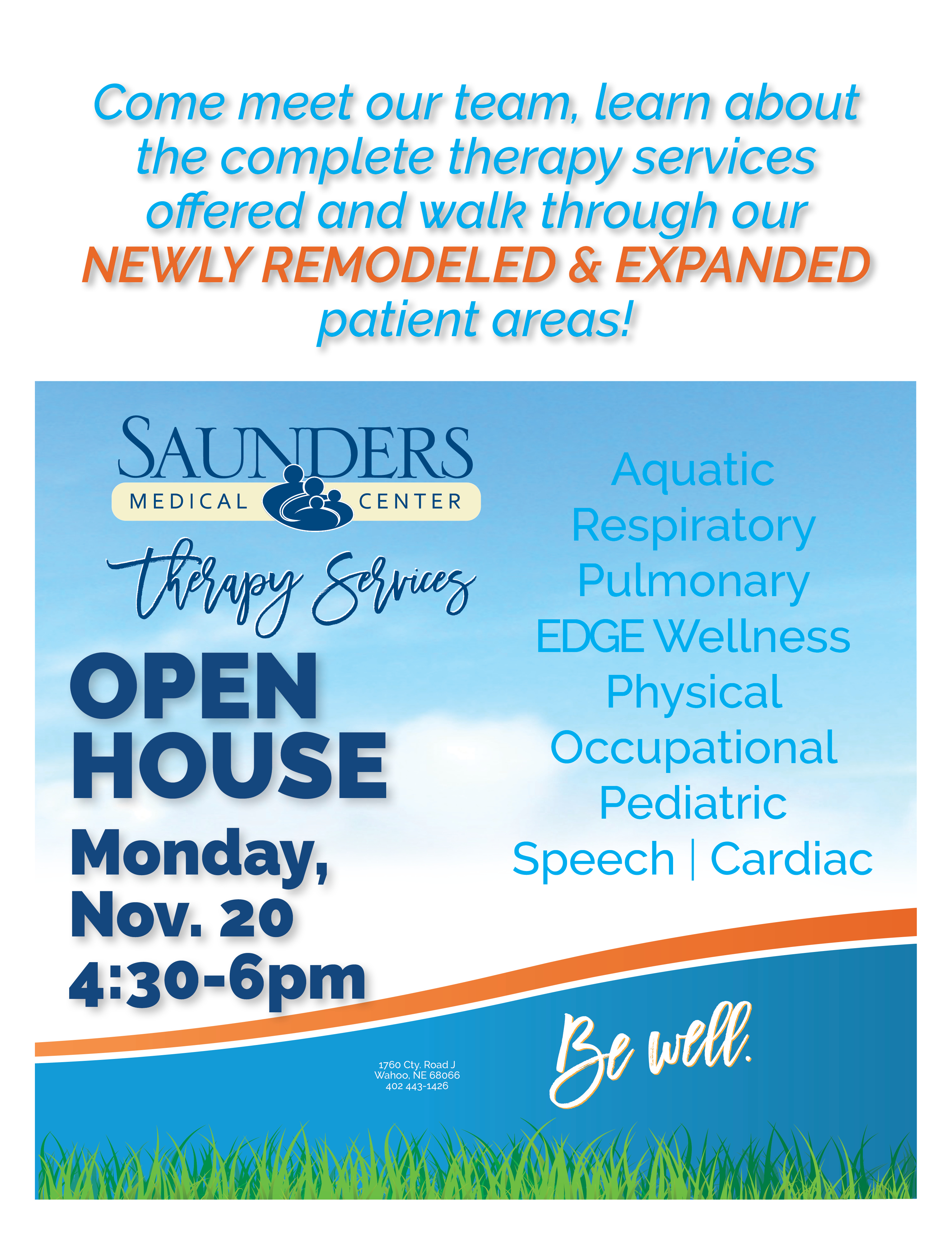 Public Invited to Open House | Therapy Services