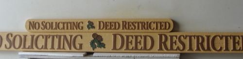 KA20738 - Carved Wood Grain  HDU Sign for Residential Community, No Soliciting and Deed Restricted