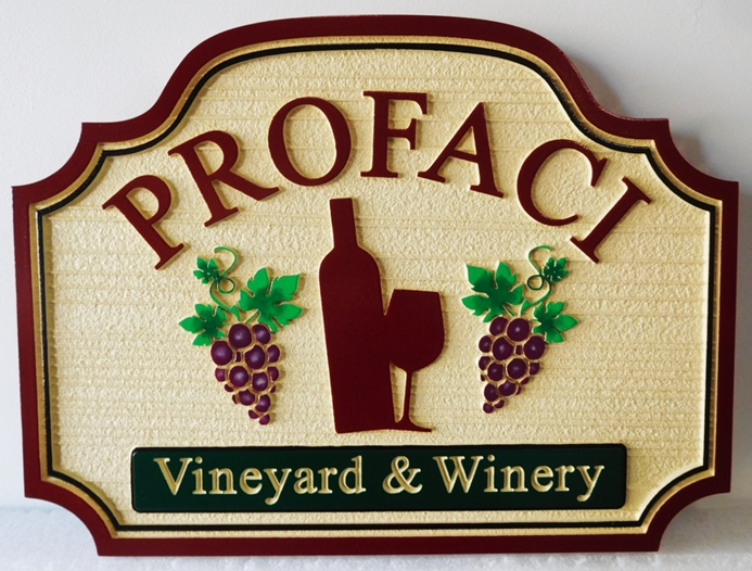 "R17021 - Carved  and Sandblasted Entrance Sign for the  ""Profaci Vineyartd and Winery ""  with  Raised Stylized Wine Bottle , Glass and Grape Clusters as Artwork,  2.5-D Artist-Painted"
