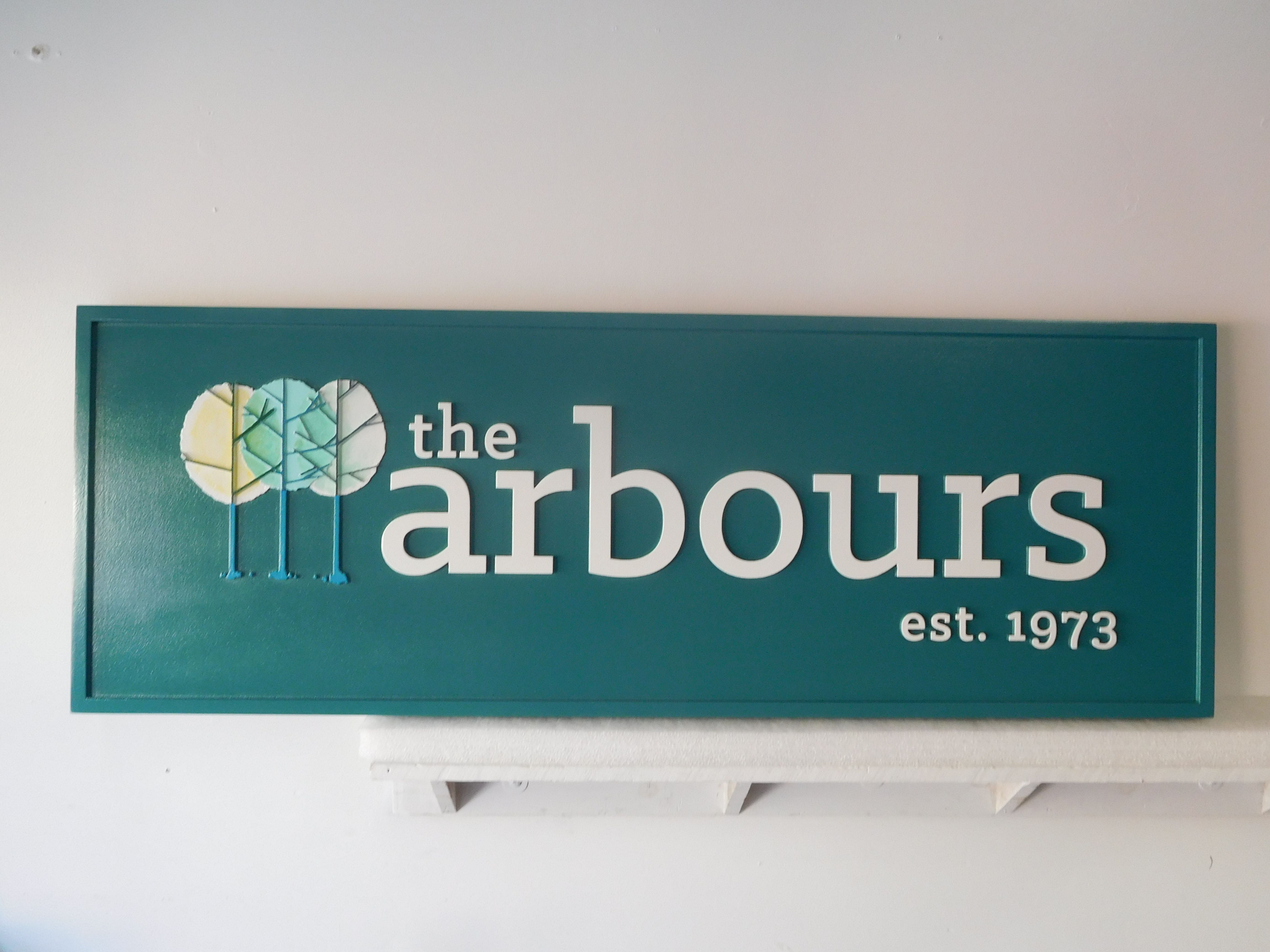 """S28100 - Elegant  Carved 2.5-D Sign  for the """"The Arbours"""", with Three Stylized Trees Logo."""