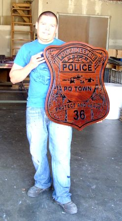 X33648 - Wood Badge Plaque for Poughkeepsie Police Department