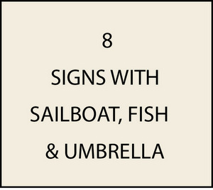 L21340 - Signs with Sailboat, Fish and Umbrella
