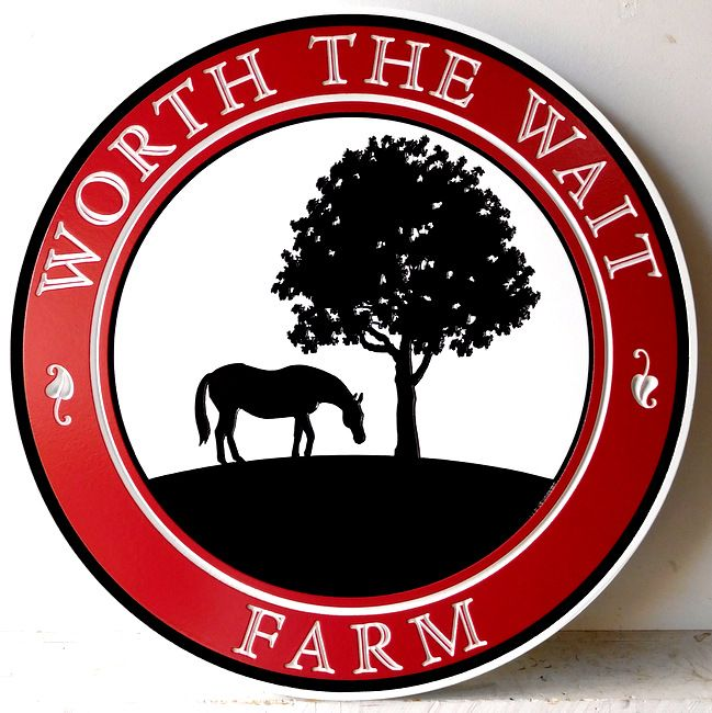 "O24226 - Carved  and Engraved 2.5-D Sign for "" Worth the Wait"" Farm, with Silhouette of Horse and Tree"