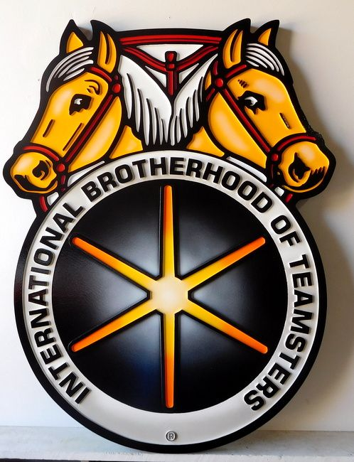 M1622 - carved Wall Plaque of Emblem/Logo of Teamsters Union, with two Horse Heads
