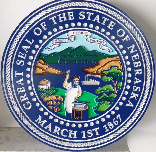 BP-1310- Carved Plaque of the Seal of the State of Nebraska, Artist Painted