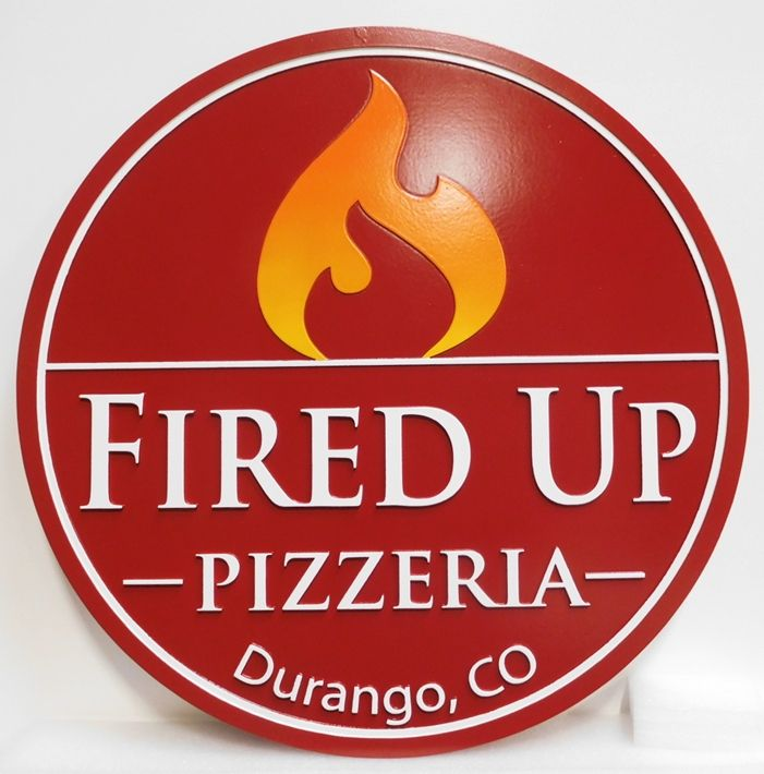 "Q25333 - Carved Multi-level Sign for ""Fired Up Pizza""  with Raised Artist-Painted Flame as Artwork"