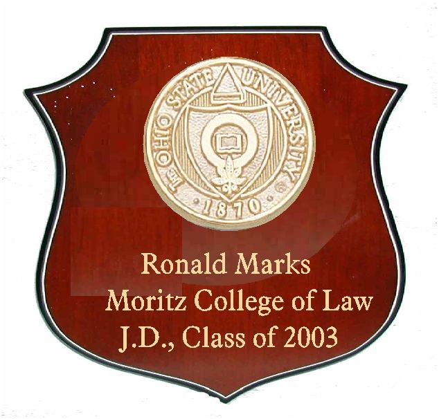 RP-1620 - Carved Wall Plaque of  the Seal of Ohio State University, Personalized, Brass Plated on Mahogany Wood