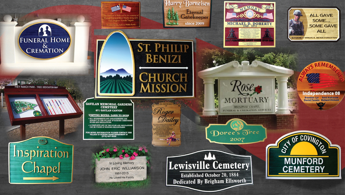 Funeral  home. cemetery, crematorium, and memorial signs & plaques signs