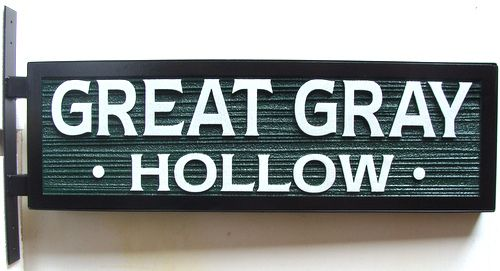 GA16509 - Carved HDU Sign for Great Gray Hollow, Side-Mounted Sign Bracket