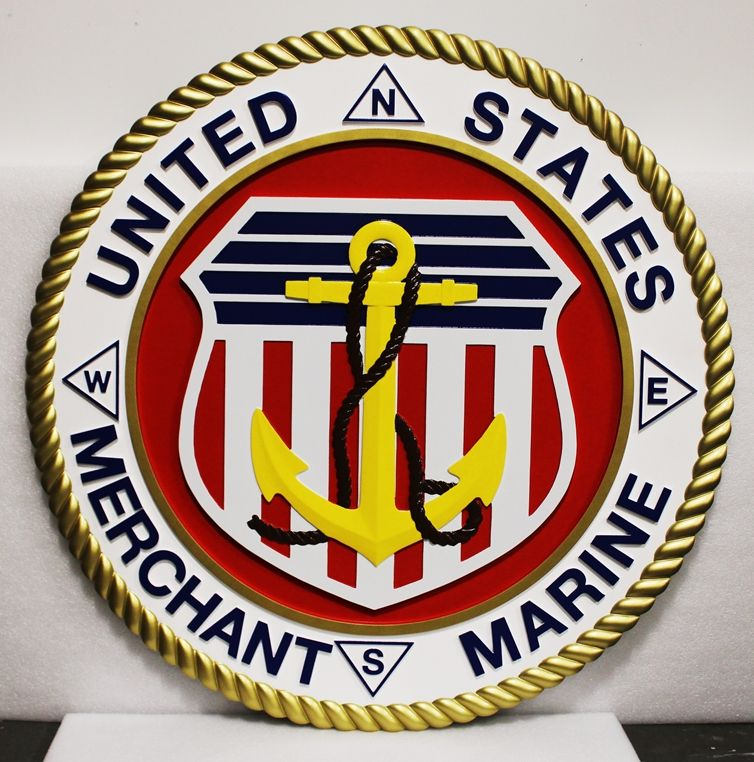 NP-2333 - Large Carved Plaque of the Seal of the US Merchant Marine, 3-D Artist-Painted