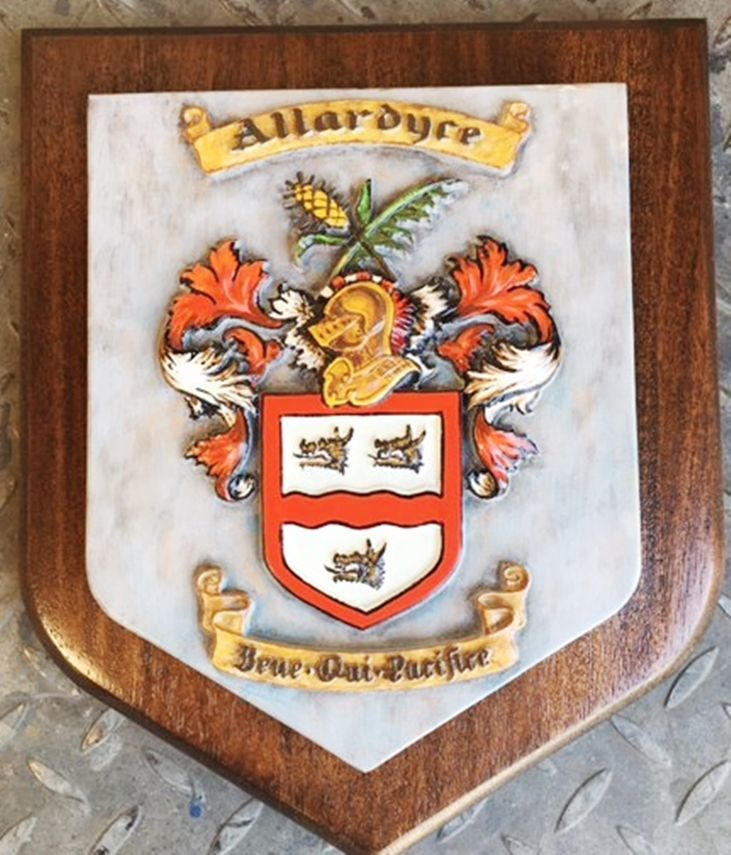 XP-2005 - Carved  Mahogany  Shield Plaque with Carved 3-D Coat-of-Arms witha Helmet, a Shield, and Flourishes