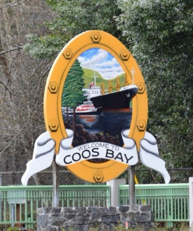 D-1335  - Carved City Entrance Sign  to Coos Bay, Oregon, Featuring its Seal, 3-D Artist-Painted