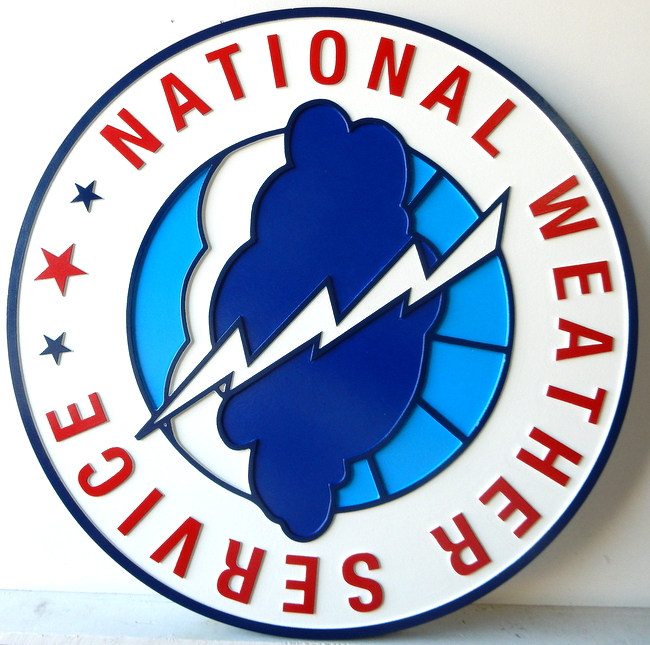 AP-6640 - Carved Plaque of the Seal of the US National Weather Service, Artist Painted