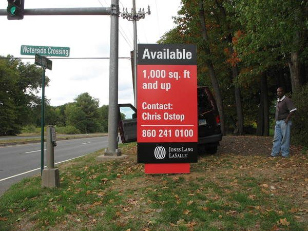 Construction / Real Estate Sign, D/F, MDO, Hidden Posts, Pylon Look