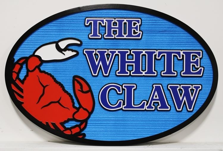 """L21573 - Carved and Sandblasted Wood Grain  2.5-D Multi-level  HDU  Beach House name and address Number Sign """"The White Claw"""", with a Red Crab as Artwork"""