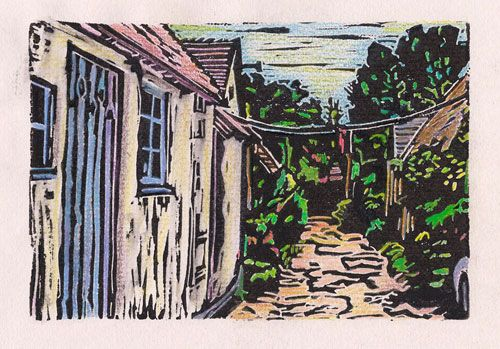 "Hansel and Gretel Cottages, block print with water-based printing ink, 4"" x 6"""