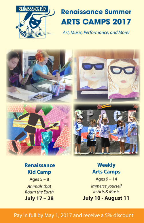 East End Arts School Announces Limited Space Available: Summer Arts Camps for Kids: July & August 2017 Art, Music, Performance, and More! (posted June 20,2017)