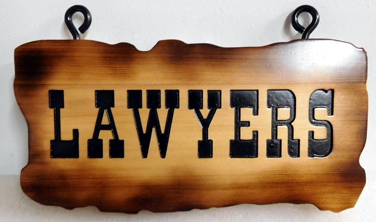 "A10012 - Rustic, Scorched Edge, Old West, Cedar Sign ""LAWYERS"""